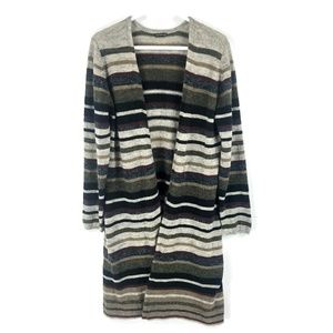 Hannah muted natural tone stripe duster sweater L